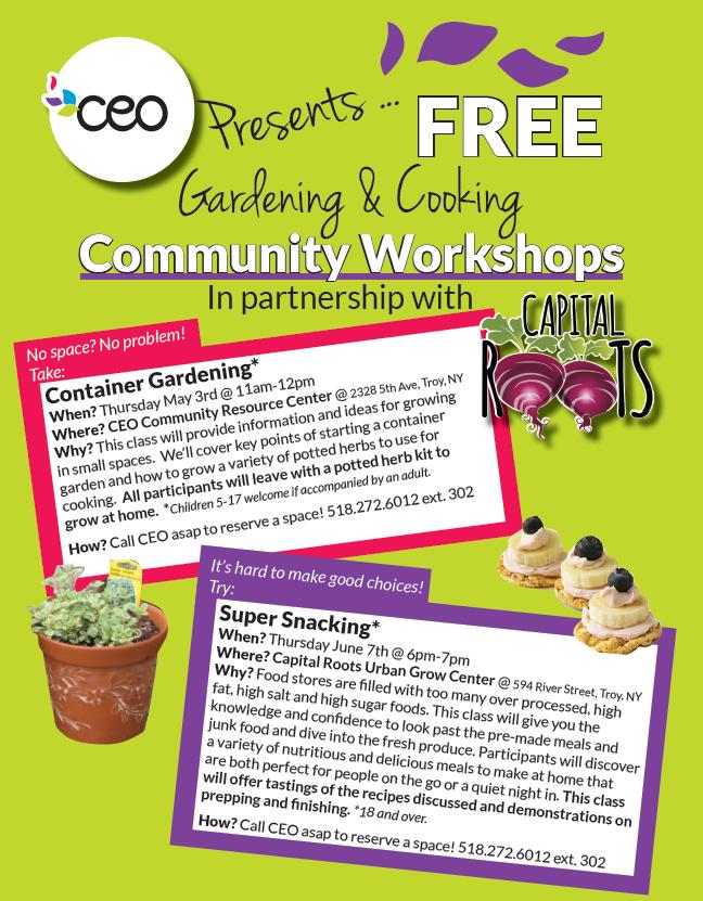 Free Gardening & Cooking Community Workshops