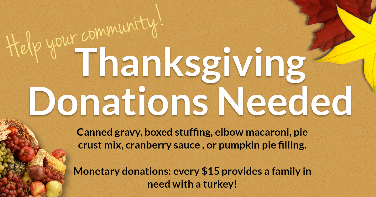Help your community: 2019 Thanksgiving package donations needed!